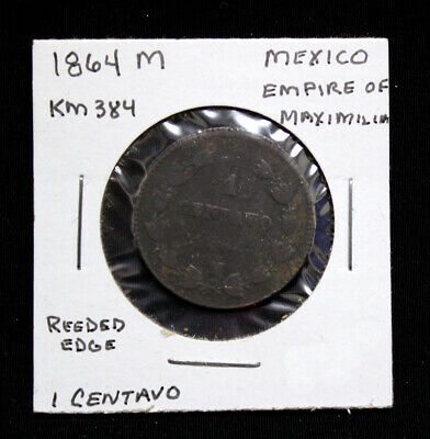 1864 M Mexico 1 Centavo Reeded Edge KM# 384 (MX140)