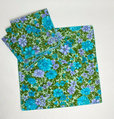 Vintage Cloth Napkins Floral paint brush Blue/Purple/Green 16.5 x 17 Set of 4