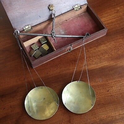 A Set Of Antique Georgian Steel And Brass Apothecary / Chemists Scales, Boxed.