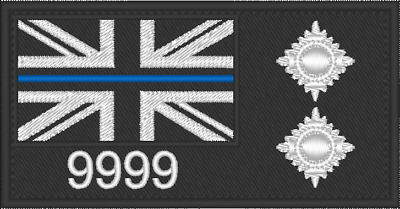 POLICE Inspector bath star PIPS Thin Blue Line TBL HOOK BACKED PATCH 10 x 5 cm