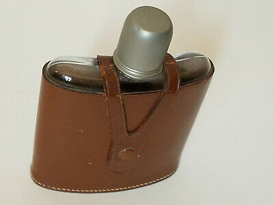 VINTAGE 1940'S 12oz LEATHER FLASK (WEST GERMANY) GREAT CONDITION