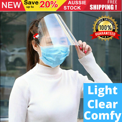 Safety Full Face Shield Adjustable Anti-Fog Protective Face Cover Transparent AU