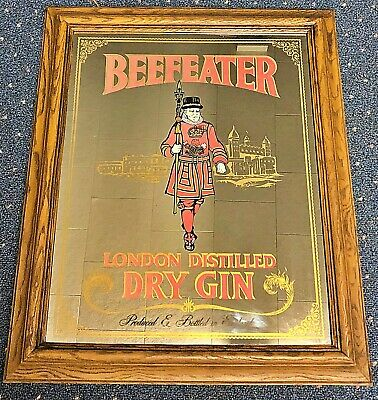 Vintage BEEFEATER GIN 23x20 Bar Mirror - Wooden Frame - Man Cave Special
