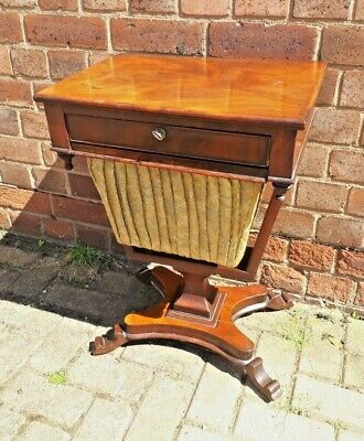 Antique William IV c1830 Flame Mahogany Work Sewing Box Side Table