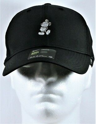 Disney Parks Exclusive Mickey Black Nike Dri Fit Golf Cap Hat White & Grey Icon