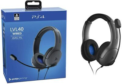 Auriculares Headset gaming PDP LVL 40 Gris para PS4 con cable cascos diadema