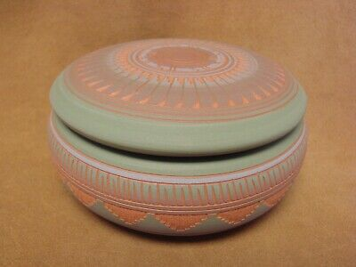 Navajo Pottery Hand Etched Trinket Box by Michael Charlie