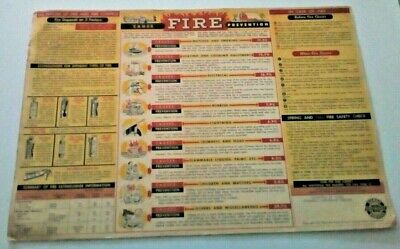 Vintage 1953 Chevrolet Super Service Poster FIRE PREVENTION  Advertising