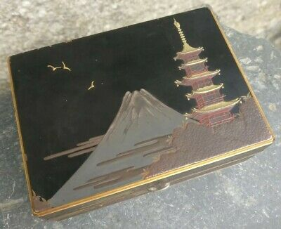 Superb Quality Antique Japanese Silver & multi layered Lacquer Box c1890.