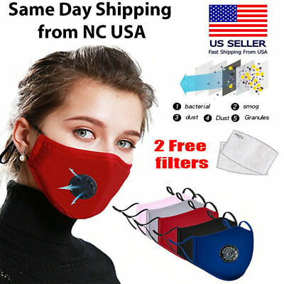 Cotton Face Mask Reusable Air Purifying Washable Mask Haze Pollution+ 2 Filters