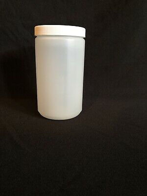 New 1 Quart HDPE Natural Cylinder Wide Round Plastic Bottle Lot Of 22 With Lids