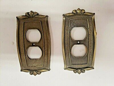 Vintage 1974 Donner USA Brass Wall Plate Outlet Cover Lot of 2 receptacle