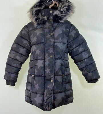 BNWT NEXT green camo star print black fur lined puffer parka coat age 9 years