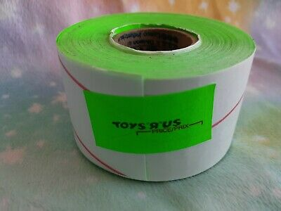 Vintage Toys R Us Price Gun green Stickers Tags 1 Rolls used Rare