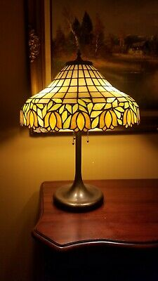 Arts & Crafts,Nouveau Unique/Handel Lamp Co. Leaded Stained Slag Glass Lamp