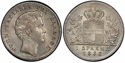 GREECE. Othon 1833-(A) AR Drachma. PCGS MS62 Voigt KM 15 w/o mm and anchor