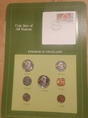 Coin Sets of All Nations Swaziland 1975 to 1981 7 coin set 1 cent to 1 lilangeni
