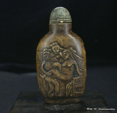 8.5cm collect Chinese old stone Carving Man woman snuff bottle snuff box W1W2