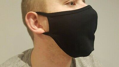 Men 100% cotton fabric face masks reusable washable black new