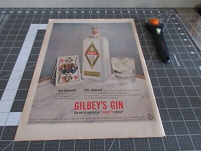 1956 Gilbey's Gin Vintage print, AD Diamond Label Playing Card