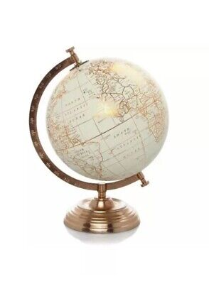 Vintage World Globe copper Cream world retro spin stand map ornament home