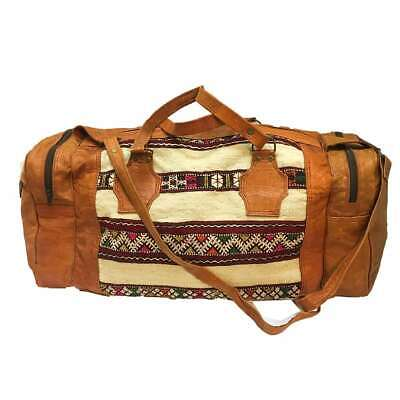 Moroccan Leather Killim Weekender Duffel Shoulder Bag Artisinal Tribal Pattern