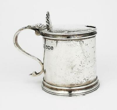 Antique HEAVY GAUGE STERLING SILVER TANKARD MUSTARD POT Sheffield 1918