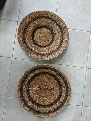 "2 - Vintage African Handwoven Makenge Root Wedding Basket Large 20"", very old"