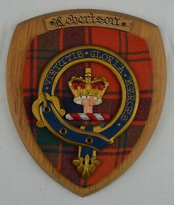 Scottish Carved Wood ROBERTSON Clan Modern Tartan Plaque Crest Shield Coat Arms