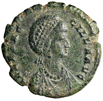 "Aelia Flaccilla (Wife of Theodosius I) AE24 ""Empress, Star & Cross"" Heraclea VF"