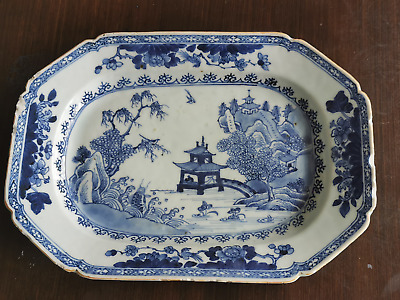 18th Century Chinese Export Blue & White Dish Qianlong Octagonal dish