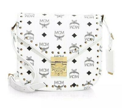 MCM SMALL PATRICIA Visetos Shoulder Bag White Gold Stud