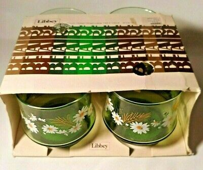 Libbey Belaire style Rocks Glasses Item #284 Vintage Daisies New in Box Set of 4