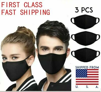 Face Mask 3 Packs Washable Reusable Black Unisex Mouth Cover Protection