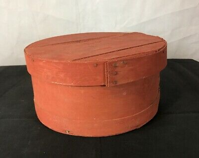 "Antique Primitive Covered Round Pantry Box In Old Red Milk Paint - 11"" Diameter"