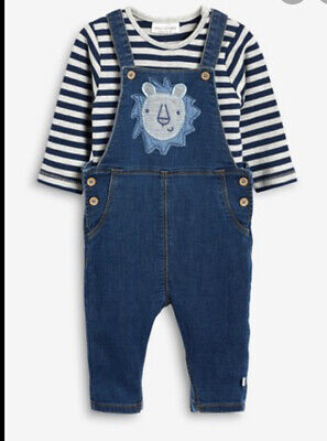 Next Baby Boy Lion Denim Dungaree Set Outfit Blue Stripe Vest New With Tags 6-9m