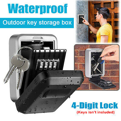 2x Wall Mounted Key Safe Box Secure Lock Safety Security Outdoor Storage 4 Digit