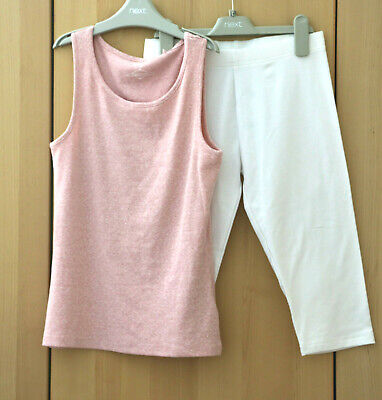 Next Girls Pink Vest Top & White Cropped Leggings Age 12 Years BNWT
