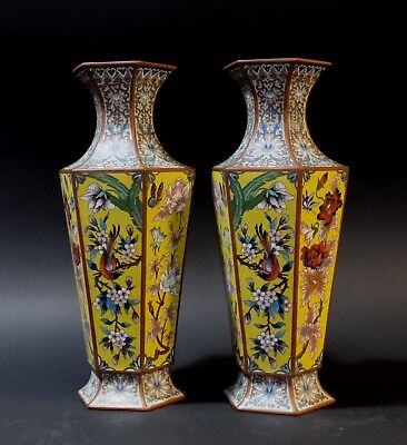 Matching Pair of Chinese Bronze Cloisonne Enameled Vases-Supper High End Quality