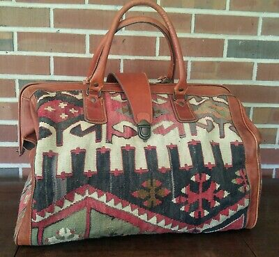 Vintage Yun Art Turkish Wool and Leather Boho Duffel Travel Bag