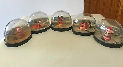 Vtg Snow Dome Globe Tumbling Santas Set of 5 Snowdome Snowglobe