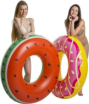 120cm Novelty Swim Ring Donut Watermelon Inflatable Pink Rubber Holiday PoolKids