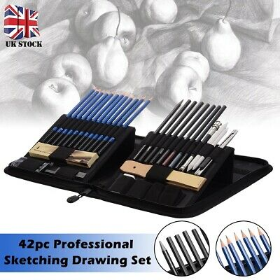 42pc Professional Sketching Drawing Set Artists Art Pencil Kit Graphite Charcoal