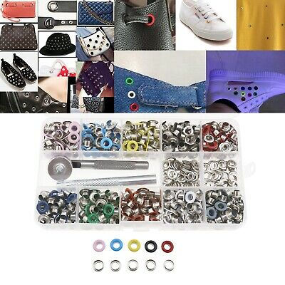 500 Set of Metal Eyelets with  Setting Tool Storage Box for DIY Crafts Clothes
