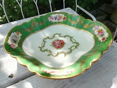 Antique Aynsley Bone China Comport Fruit Bowl Cabinet Piece Gold Green Floral