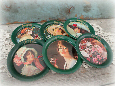 lot of 6 vintage Coca Cola coasters Victorian women metal