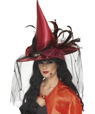 Witch Hat, Deep Red, with Net & Feathers, Deluxe COST-ACC NUEVO