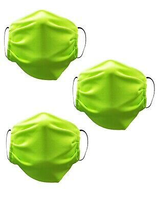 Face Mask Washable Reusable Adult Unisex 3 Pack Made in USA Neon Green