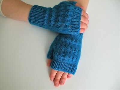 Hand Knit Fingerless Merino Wool Glove Knit Wool mittens  One size fits most