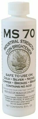 MS70 Strength Coin Brightener Solution Gold Silver Copper Brass Nickel 8 Oz